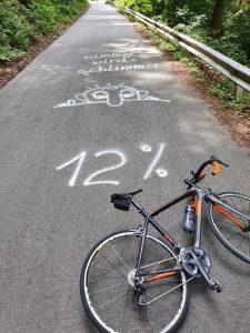 Schlimma wird's nimma - 12 % Steigung beim beitune Rennrad-Wochenende im Odenwald